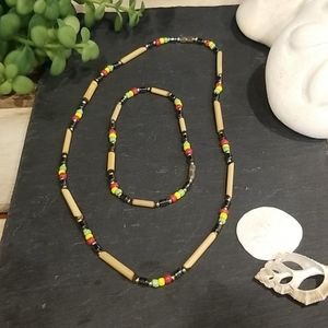 Jamaican themed matching necklace and bracelet